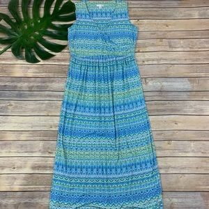 J. Jill blue and green ikat sleeveless maxi dress